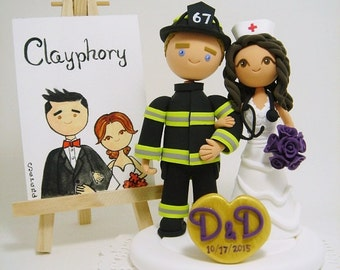 Firefighter and Nurse couple Custom Wedding cake topper