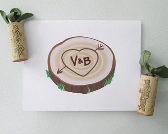 CUSTOM* Initials on Tree Stump - Love Greeting Card