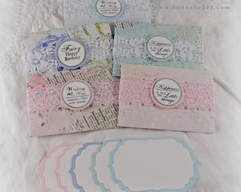 Floral Gift Card Envelopes, Gift Card Holders, Vintage Style Gift Card Holders, Shabby Chic Holders - Set of 5