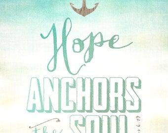 PRINTABLE Faith Art, Baby Gift, Baby Shower present, Adoption gift, Scripture Art, Faith Art, Hebrews 6:19, 8x10 art print
