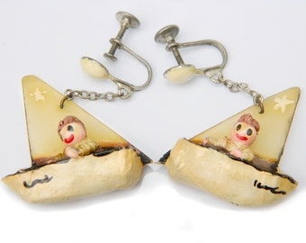 Sailboat Earrings Whimsical Boy Figures In Boat Nautical Jewelry  Hand Painted Hand Carved Vintage Jewelry