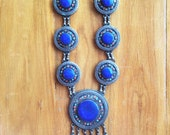 Zima Silver Tribal Necklace Vintage OOAK Afghani necklace Lapis