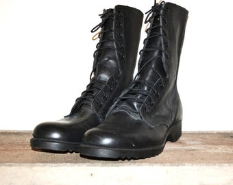 Vintage Combat Boots Black Combat Boots Leather Combat Boots Military Combat Boots Men's Black Combat Boots Size 9 Regular