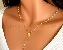 Pearl Rosary Necklace Women Cross Pendant Gold Rosaries 14kt Goldfilled Freshwater Pearls Cross Spiritual Faith