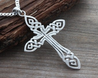Large Mens Cross necklace, large sterling silver men cross necklace, Choose Chain, mens knot Cut Cross . Irish KNOTTED Cross.