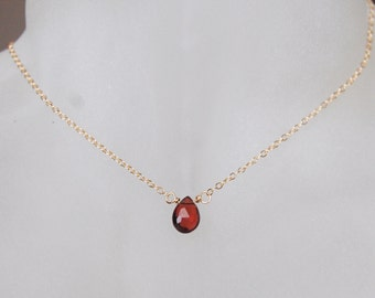 Garnet Necklace , Birthstone Necklace , Choker Necklace , Gemstone Necklace , January Birthstone Gift