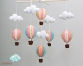 Vintage peach and blue baby mobile - peach and blue baby mobile - up in the air - Nursery decoration - up in the sky