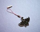 kawaii pastel goth bat cat phone charm - gothic accessory key chain strap - bat phone dust plug anime cat charm