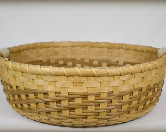 "BASKET PATTERN ""Journey"" Large Gathering Basket or Round Tray with Pottery Handles"