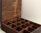 Vintage Handmade Wood Crate Box with Lid 15 Cubby Spaces Rustic Primitive Craft Storage