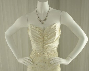 Vintage Beaded Lace and Studded Rhinestone Column Wedding Dress with Matching Lace Jacket