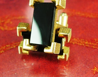 Vintage Black cuff links Set Classic Dressy Black  Wedding Tuxedo Sarah Coventry mens accessory mens gold wedding jewelry