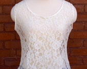 Floral Lace White Sleeveless Shirt with Satin Trim