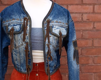 80s Western Denim and Leather Crop Jacket