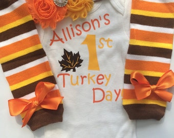 INFANT girl Thanksgiving outfit - Baby girl fall outfit - baby fall clothes -pumpkin patch outfit - My first Thanksgiving- Preemie, Newborn