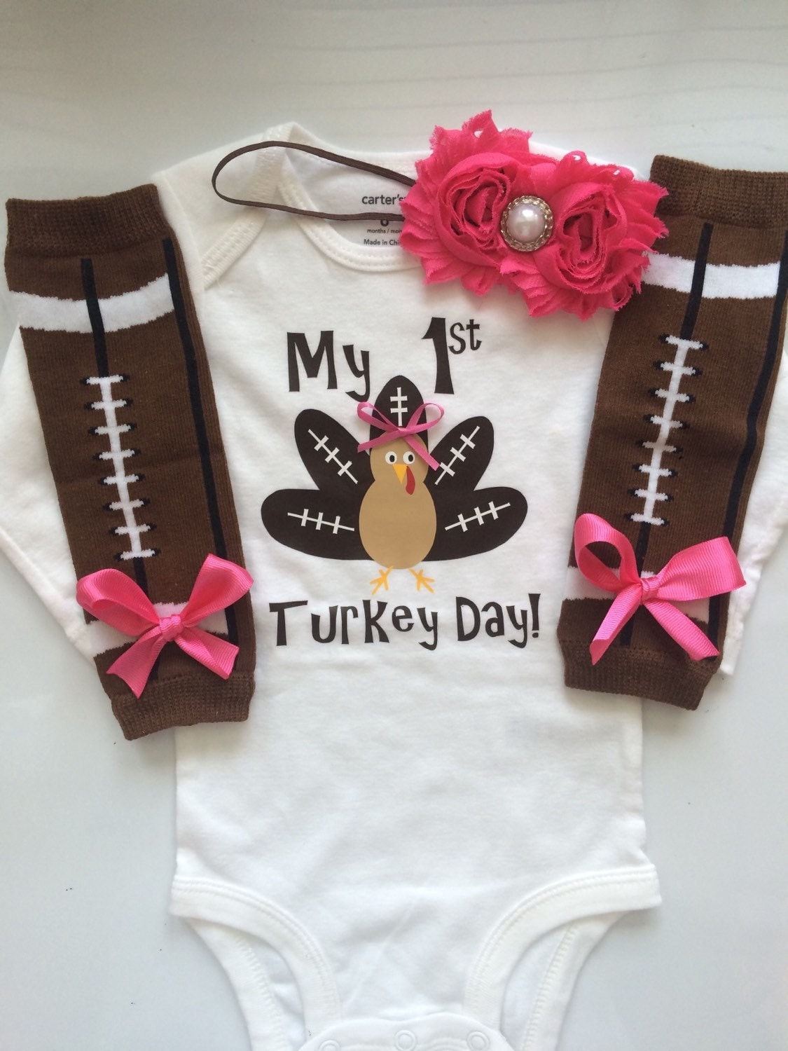 infant girl thanksgiving outfit football turkey