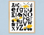 "Kids Alphabet Wooden Art Plaque Construction Art 8""x 10"" Boys Room Playroom Nursery Wall Art Keepsake Gift For Young Child Yellow Black"