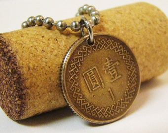Asian Coin Necklace - Stainless Steel Ball Chain - Reversable