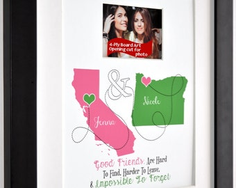 Best Friend Gift Ideas, Friendship Quote Custom Moving Away Two State Locations Good Sister Present Cousin Foreign Exchange Student Photo