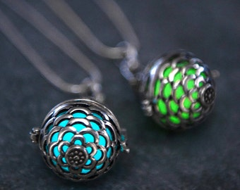 Silver Mermaid Scales Glow Pendant Locket in Aqua, Green, Purple or Seafoam Glow