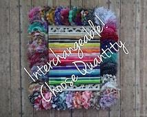Interchangeable Headband Set - CHOOSE QUANTITY - Pattern Shabby Chic Flower Headbands - Plain Headbands - Alligator Clip - No Slip Grip