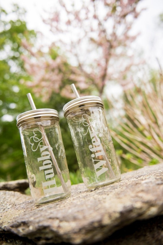 Set of 2 24oz Mason Jar To Go Cup With Stainless Steel Straw Fits in Cup Holders Eco Friendly Wedding Engagement Gift Hubby Wifey