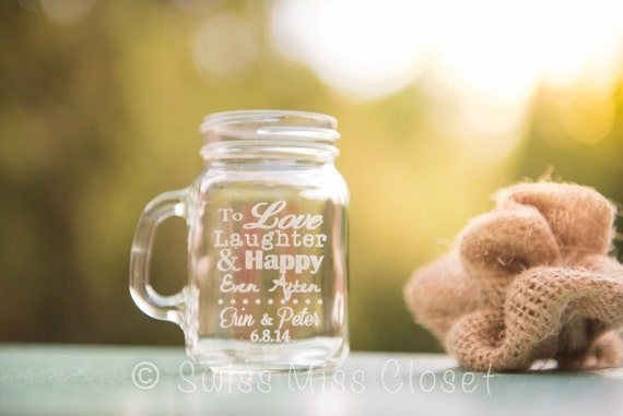 Custom Etched Mini Mason Jar Shot Glass Personalized  Wedding Favor Groom's Men Bride's Maid Gift