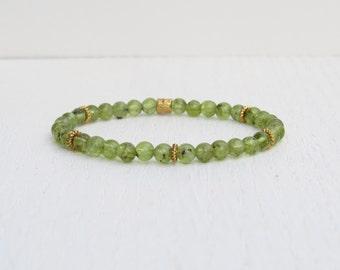 Peridot bracelet, Green bead bracelet, August birthstone bracelet