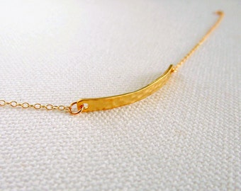 Curved Bar Bracelet, Hammered Bar Gold Plate or 14k Gold Fill Chain, Simple Dainty Modern Everyday Jewelry