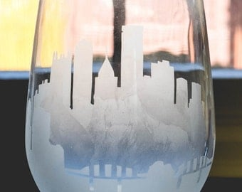 Etched Pittsburgh Pennsylvania Skyline Silhouette Wine Glasses or Stemless Wine Glasses