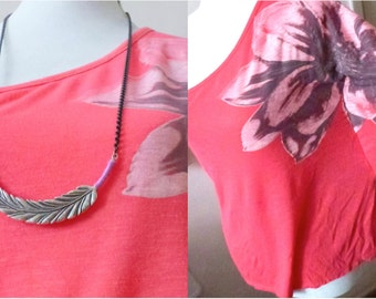 coral asymmetric top with flower