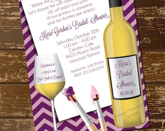 Items similar to painting party invites wine and painting for Wine paint party