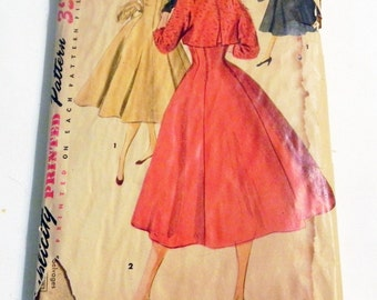 1950s Sleeveless Princess Seam Sundress Dress and Bolero jacket sewing pattern Simplicity 4759 Size 14 Bust 32""