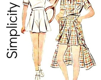 Vintage 30s Tennis Sports Wear Sewing Pattern Size 16 Bust 34 Blouse Button Front Skirt Wide Leg Shorts Simplicity 2409 Non Printed Complete