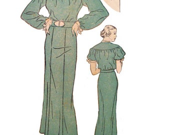 1930's Vintage Slim Dress Pattern Size 18 Bust 36 Drop Sleeves Tie Neckline New York 538 Sewing Pattern Non Printed Complete