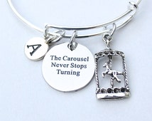 The Carousel Never Stops Turning , Stainless Steel Engraved Charm , Personalized Initial, Horse Carousel Charm, Merry Go Round Bangle