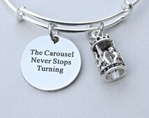 The Carousel Never Stops Turning, Stainless Steel Engraved Charm, Horse Carousel Charm, 3D Merry Go Round Bangle, Affirmation Life Goes On