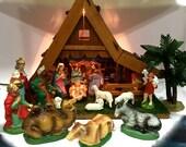 Vintage Musical Nativity Set, 18 Piece Set, Lighted, Japan, c1950,Holy Family, Christmas, Silent Night,Holy Night,Bethlehem,Scene, Mint