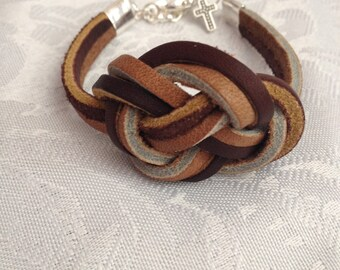 Brown and Tan Leather Celtic Knot Bracelet, Leather Bracelet, Tan Leather Bracelet, Brown Leather Bracelet
