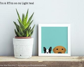 Custom Combo Peeking Pet Art Print - Choose Any Two Existing Designs!, Golden Retriever Art, Lab Art, Labrador Retriever Art, Dog Art, Pet