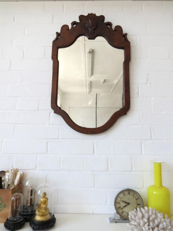 Wall Art With Mirror Frame : Vintage art deco wall mirror with wooden frame