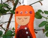 Keyring / Bag Charm - Japanese Kokeshi Doll - Handmade Novelty Gift
