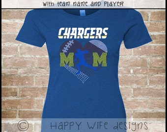 Rhinestone Football Mom Shirt with Team Name and Player
