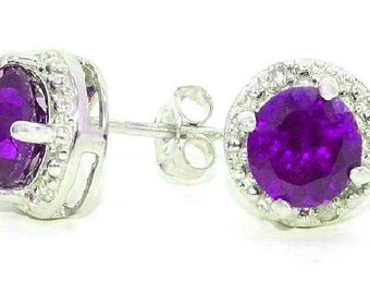 2 Ct Amethyst & Diamond Round Stud Earrings .925 Sterling Silver Rhodium Finish