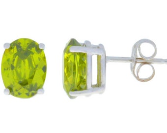 14Kt White Gold Peridot Oval Stud Earrings