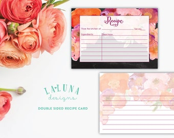 Printable Recipe Card, Bridal Shower Recipe Card, Recipe Cards, 3x5 Recipe Cards, Recipe Cards for Bridal Shower