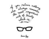 Tina Fey on Beauty Print - Hand-Illustrated