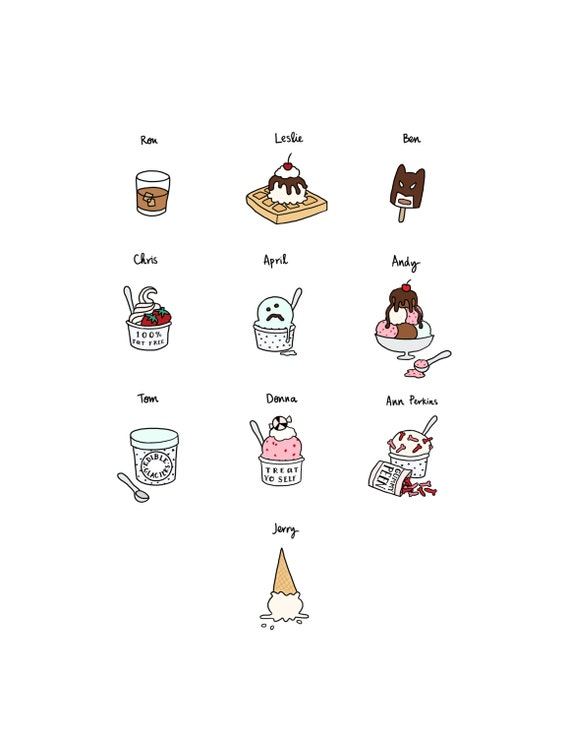 Parks and Rec Ice Cream Print - Hand-Illustrated