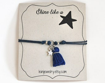 Wish bracelet with tassel charm, star bracelet, friendship bracelet, inspirational gift for her, navy dark blue bracelet