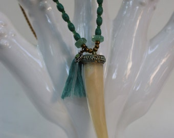 Embellished Tusk Pendant with Turquoise Detail
